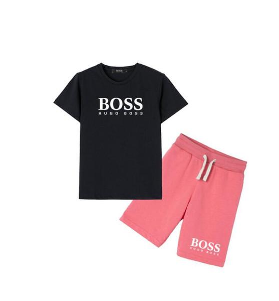2019 Sıcak erkek ve kız 95% pamuk kısa kollu Tişört moda mektup baskı spor takım elbise rahat gevşek kısa kollu gömlek plaj şort
