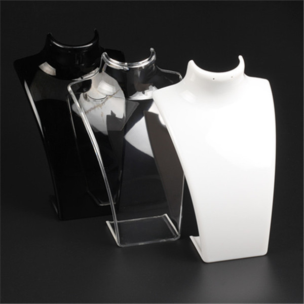 New Fashion Acrylic Mannequin Jewelry Display 20*13.5*7.3CM Pendant Necklaces Model Stand Holder White Clear Black Color