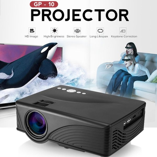 Mini LCD Projector 2000 Lumens 800 x 480P Support 1080P Red-Blue 3D Home Theater Projector GP10 PK GP9 GP-9 GP12 GP-12 Free Shipping BA