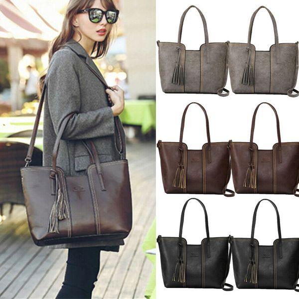 2019 Newest Hot Women's Tassels Handbag Purses Girls Single Tassel Shoulder Bag Ring Hand Leather Bag Large Capacity Tote