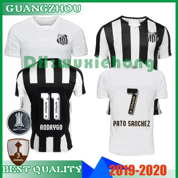 Maillot de football 2019 2020 Santos FC 19 20 Maillot de foot Santos blanc noir SOTELDO RODRYGO PATO SANCHEZ RENATO SASHA taille S-XXL