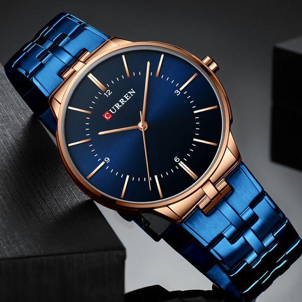 Reloj Hombre CURREN Relogio Erkekler Saatler Moda Blue Man İzle 2019 Su geçirmez Quartz Analog Bilek İzle Erkekler