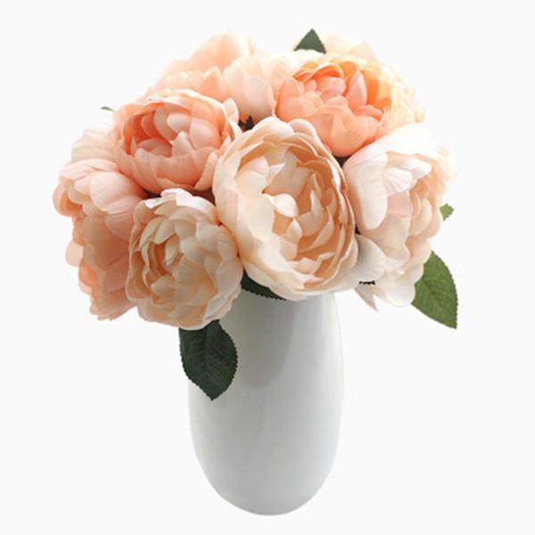 Gelin Buketi Yapay Şam Gül 27 CM Düğün Ev Partisi Ekran Çiçek Dekorasyon Ipek Çiçek Düğün Buket 6 Kafaları / buket