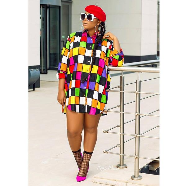 Nouveau Femmes Designer Robes Coloré Grille Imprimer À Manches Longues Chemises Robes Lady Lâche Écran Solaire Causal Vêtements