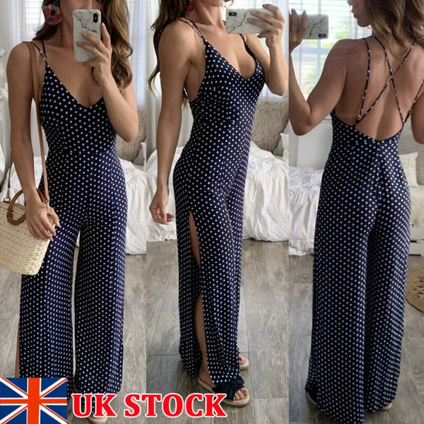 UK Womens Deep Plunge Tie High Waist Party Ladies Jumpsuits Trousers Size 6-14