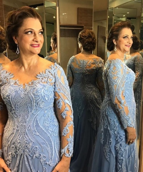Gorgeous Baby Blue Plus Size Mother Of Bride Dresses Scoop Column 3d  Appliques Long Sleeves Groom Mother Evening Formal Dresses Button Back Plus  Size ...