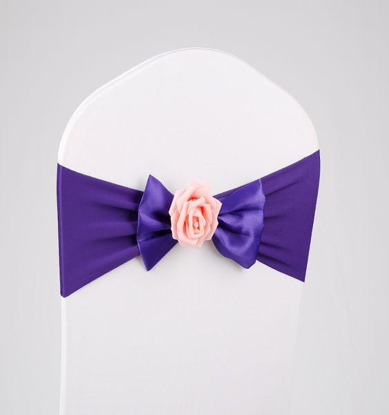 Hochzeitsstuhl-Abdeckungs-Schärpen elastischer Spandexstuhl-Band-Bogenrose No-tie Bogen-Rückseiten-Bowknot für Hochzeiten-Ereignis-Partei-Zusätze