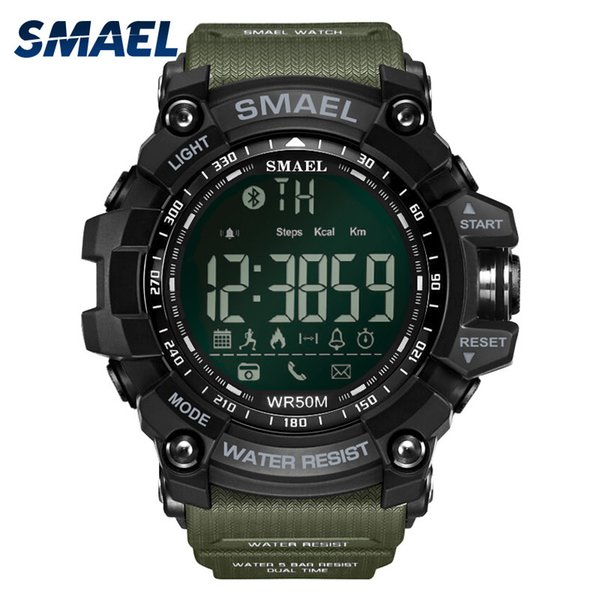 50meters Swim Dress Sport Watches Smael Brand Army Green Style Bluetooth Link Smart Watches Men Digital Sport Male Clock 1617b Y19051603