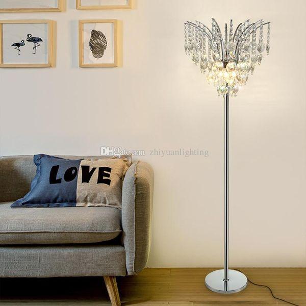 Lüks LED zemin lambası basit modern kristal zemin lambası çalışma ayakta lamba yatak odası oturma odası için yaratıcı post-modern zemin ışık