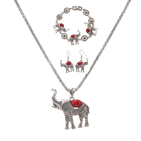 Bohemia Elephant Pendant Necklace Bracelet Earrings Set European and American Exaggerated Jewelry Three Piece Set Wholesale