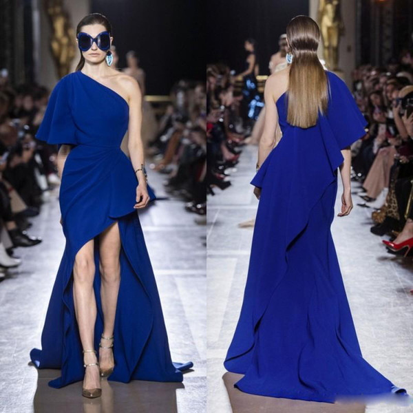 Elie Saab Royal Blue High Low Prom Dresses One Shoulder Ruffles Sweep Train Satin Cocktail Party Gown Custom Made Celebrity Wears