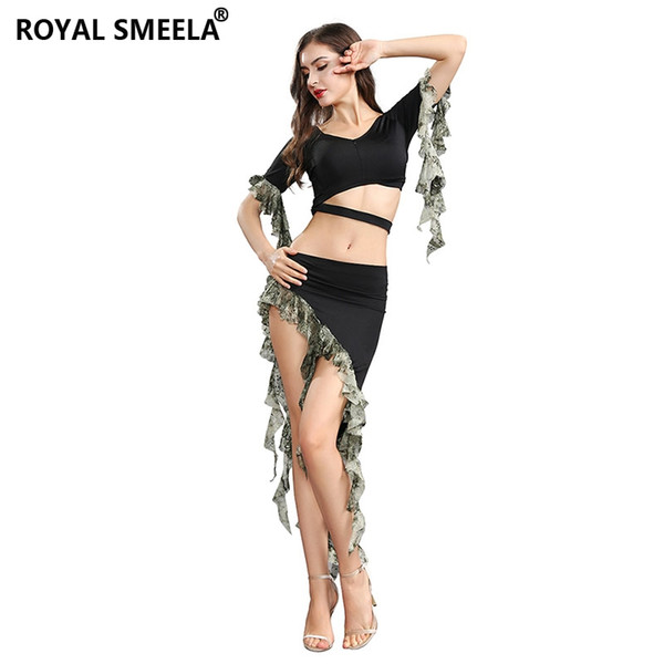 Cheap wholesale dancer costume Sexy Belly dance Suit Performance Costume woman shine bellydance clothes summer tassel Top skirt
