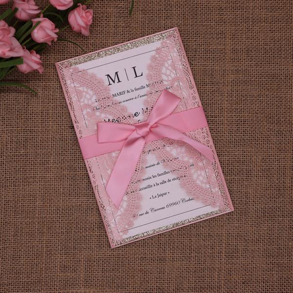 New White Hollow Wedding Invitation Cards Elegant Lace Wedding Invitations Pockets 4PCS/Set Invitations Cards JCDQ96 Wholesale