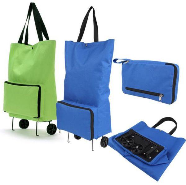 günstige Großhandel Oxford Tuch tragbare faltbare Einkaufstasche mit Rad Trolley Schlepper Tasche