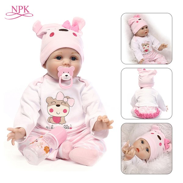 Npk Doll Reborn 55cm Soft Silicone Reborn Baby Dolls Vinyl Toys Big Dolls For Girls 3-7 Years Old Baby Dolls With Blouse Cloth J190508