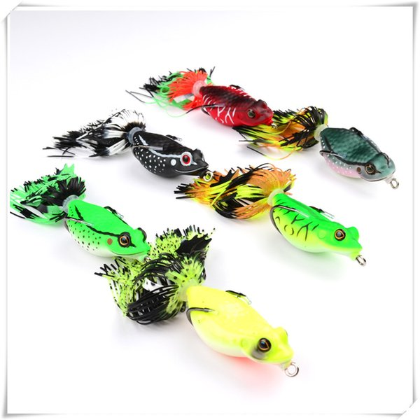 Fishing Rubber Soft Lure Baits 6.35cm/20g Soft Bait Frog Fishing Lures With Tassel Tail Crankbaits Baits For Bass Snakehead Good Quality