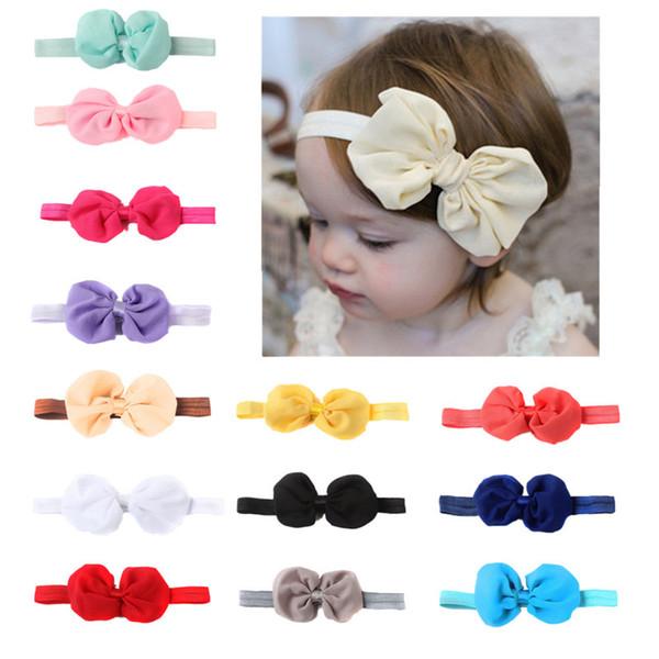Moda Baby Girl Chiffon Bow Fascia Elastico FOE Capelli Bow Fasce per bambini Ragazze Hairbands Accessori per capelli Princess Party Gift