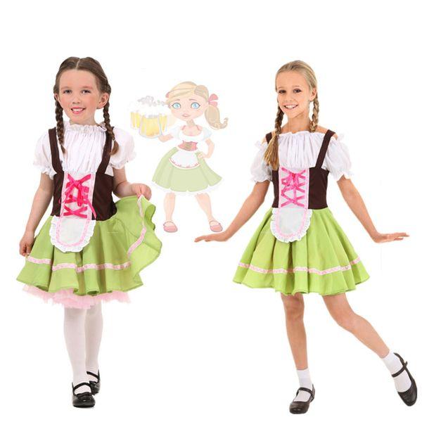 Kids Girls German Beer Heidi Outfit Bavarese Oktoberfest Beer Girl Costume Halloween Party Fancy Dress S-XL