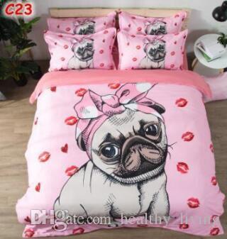 US Size 3pcs Luxury Bedding Set Duvet 3D Animal Printed Bed Cover Set King Sizes Lion Dog Cat Duvet Cover Set Bedding Supplies