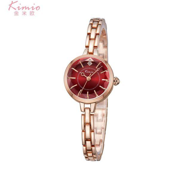 Kimio colorido diamante relógio de quartzo liga de ouro rosa pulseira de relógio mulheres dress mulher relógios de marca de luxo das mulheres relógios k6221