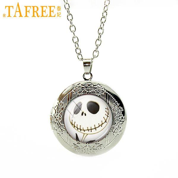 TAFREE Halloween gifts Nightmare Before Christmas Locket Necklace art Jack Skellington punk skeleton skull pendant jewelry N753