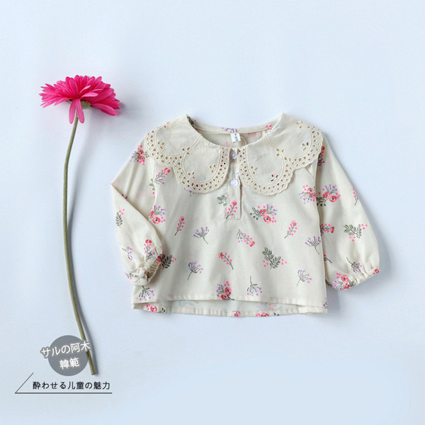 New Arrival Baby Girls Spring Floral Blouses infant Long Sleeve Flower printed Shirts toddler Kids Cute Cotton princess Blouses