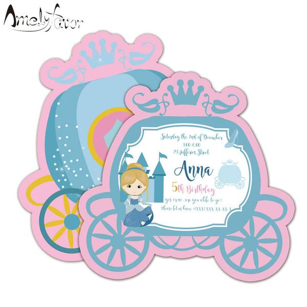 Compre Tarjeta De Invitaciones De Princesa Suministros De Fiesta De Cumpleaños Decoraciones De Fiesta De Carruajes De Princesa Invitación De