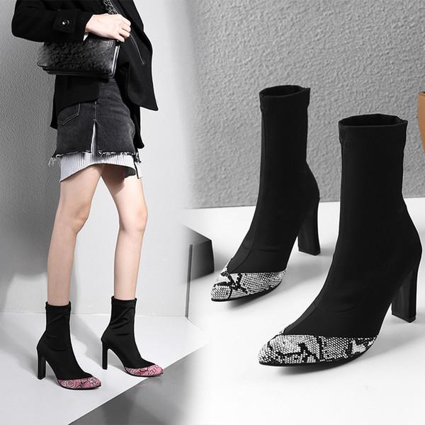 Kadın Kısa Çizmeler Yılan Derisi Sivri Burun 2019 Şık Kış Çorap Boot Orta Buzağı Yüksek Topuk Sıkı Elastik Sıcak Ayakkabı Seksi