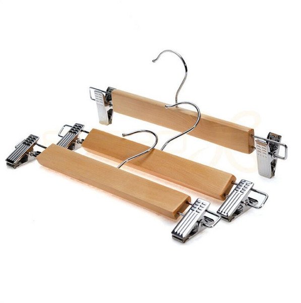 Adjusted Natural Color 28cm 32cm Wood Hanger with Clip for Lady Children Skirts Pants Trousers Racks use in Closet Office Shop Home LX5861