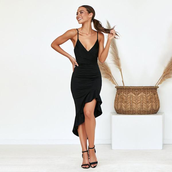 Kadınlar Seksi Yaz Elbiseler Marka Spagetti Kayışı Moda Elbiseler Bayanlar Katı Renk Asimetrik Uzun Elbise Yüksek Kalite En Çok Satan