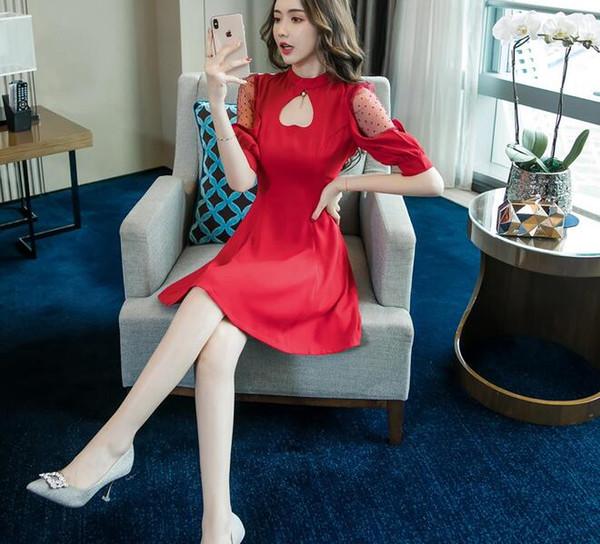 2019 versão coreana da primavera e no verão estilingue de moda pendurado no pescoço sexy vestido de uma linha