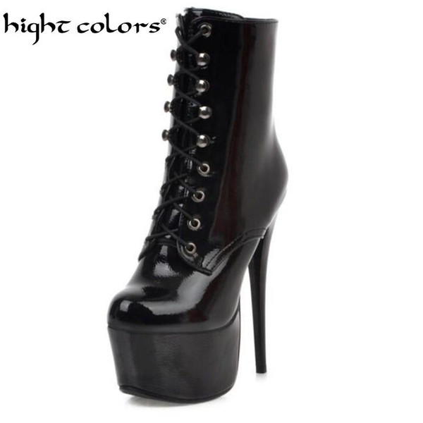 Super High Heels 15cm Sexy Fashion  Boots Women Lace-up Soft Leather Platform Shoes Woman Boots European size 34-48