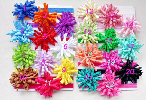 100pcs baby skinny soft iridescent hair band with curly ribbon Korker Hair clip bows girl headband corker headwear accessories PD012