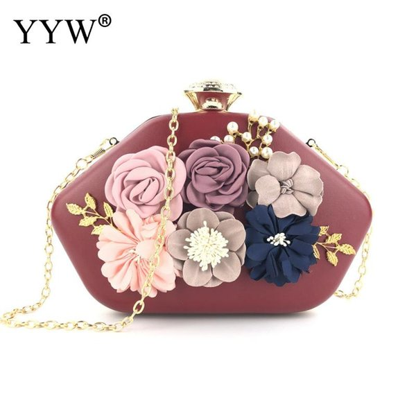 Luxury Women Handbag Designer Flower Clutch Evening Bags Ladies 2019 Pink Handmade Evening Bags Wedding Clutches Purse Female
