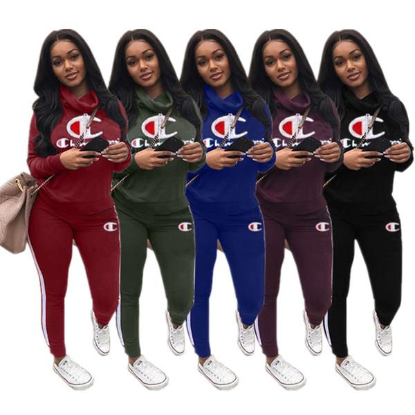 Champion Designer Trainingsanzug Frauen Herbst Hohe Haufen Kragen Trainingsanzug Langarm Hoodies Top + Leggings Hose 2 teiliges Set Marke Sportswear C8903