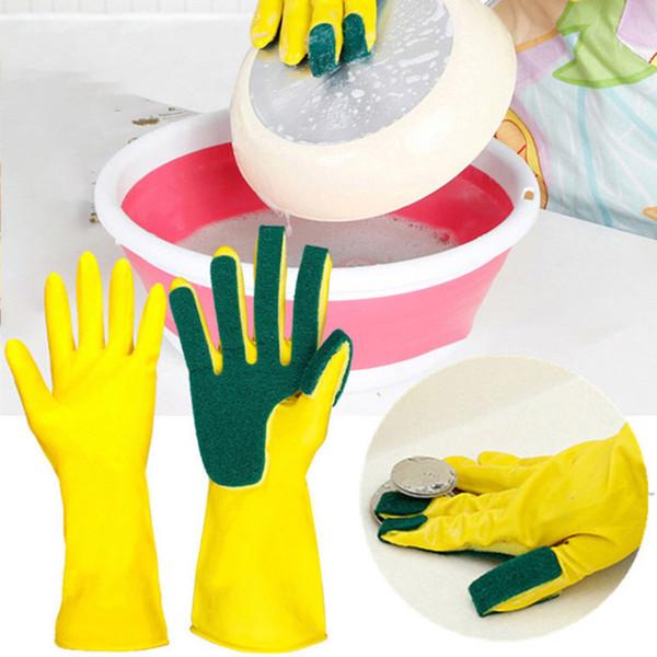 Küche Reinigungshandschuhe Home Waschen Spone Reinigungshandschuhe Schwamm Finger Gummi Haushalt Waschen Schüssel Schüssel Löffel Handschuhe Frei DHLA190312 50