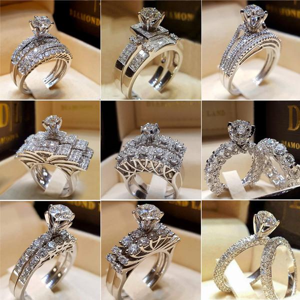 Simulierter Diamant-Ring für Frauen neuer Hochzeit Verlobungsring Art und Weise Silber überzogenen Paar-Liebe Ringe Schmuck