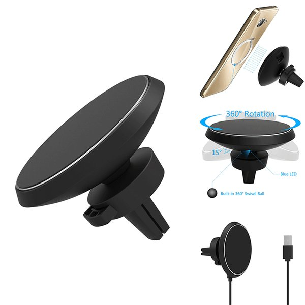 2019 Qi Magnetic Wireless Car Charger Air Vent Mount Holder 360 ° ajuste giratorio 5V / 2A con paquete