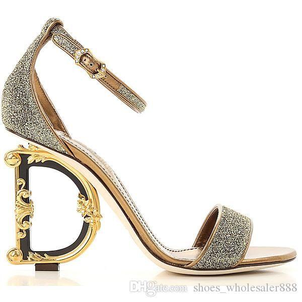صندل بكعب عال للمرأة ، مضخات صندل من الجلد الأصلي مع صندل كعب D Baroque G Sculpted Heel