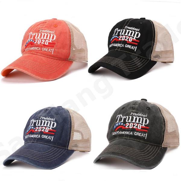 top popular Patchwork Trump Vote Mesh Baseball Cap Keep America Great 2020 Breathe Summer Mesh Sports Snapback Ball Caps Unisex Beach Ball Hat A6406 2019