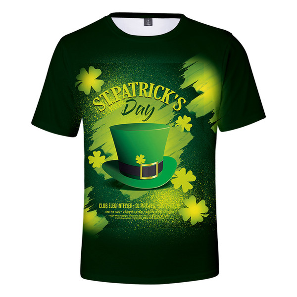 3D Print St Patrick Day T Shirt Summer Men Women Green T shirts St.Patrick S Day Tops Clover Hip Hop Unisex Camiseta Mens Tee