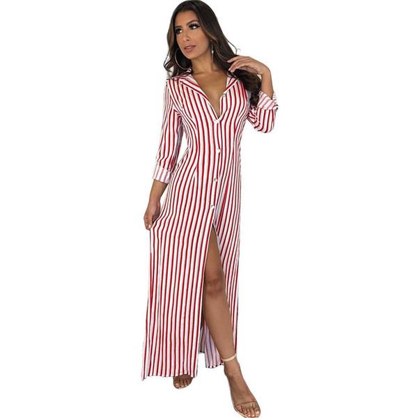 Long Sleeve Striped Maxi Shirt Dress Women Turn Down Collar Button Down Oversize Long Shirt Dress Side Split Casual Maxi Dresses