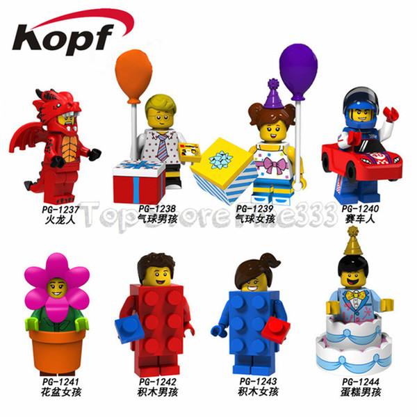 Minifigur Pumpen Legoings Party Cartoon Figuren Geburtstagstorte Geschenkbox Ballon Auto Blumenmädchen Backstein Baustein Spielzeug Kinder
