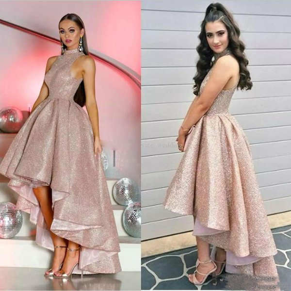 Hi Lo Sequined Prom Dresses Sleeveless High Collar Arabic Dubai Rose Gold Evening Dress Customize Cocktail Party Gowns