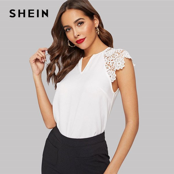 SHEIN Notched Neck Guipure Lace Cap Sleeve Blouse Summer V Neck Solid Raglan Sleeve Casual Womens Tops And Blouses