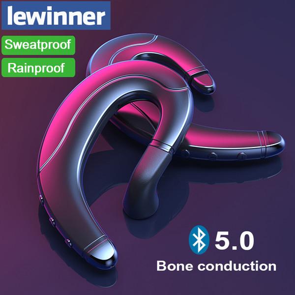 Lewinner Bluetooth V5.0 Auricolare per conduzione ossea con microfono nascosto Auricolare wireless per iPhone Android