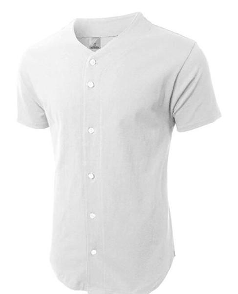 2016 Mens Camisa de Beisebol Da Jérsei Botão Para Baixo Camisas Planas de Manga Curta Top branco / branco jerseys