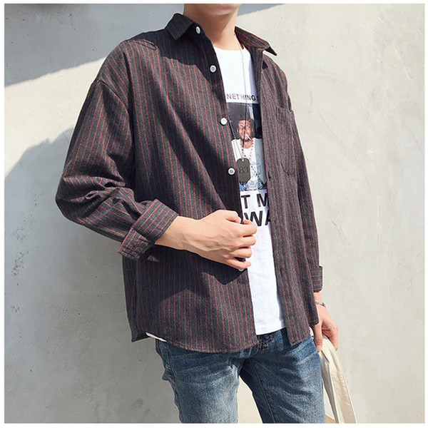 Long Sleeve Simple Style Men's Shirt Striped Shirt 5 Colors Teenager Student Casual Fashion B100781Z