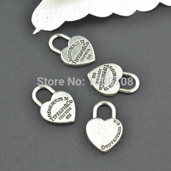 50pcs Antique metal tibetan silver charms hearts lock jewelry pendants for diy necklace bracelet jewelry findings 20*13mm Z42903