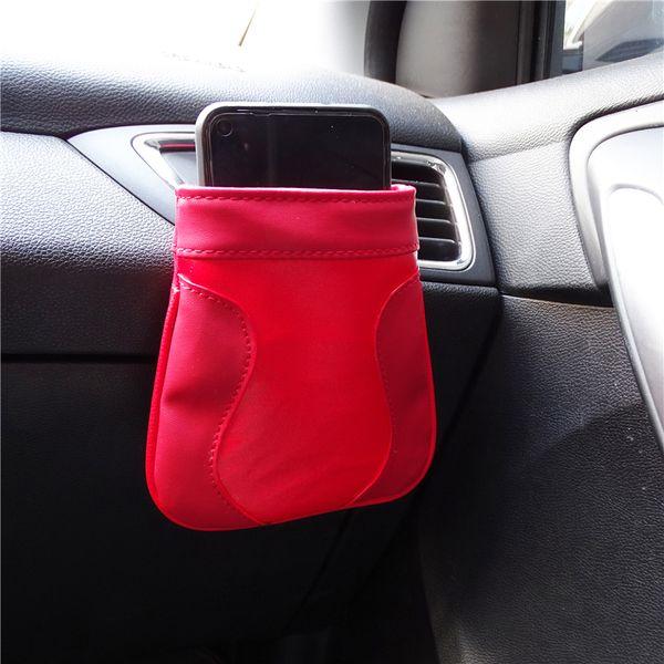 PU cuir voiture Arrimage sortie d'air Vent Rangement Corbeille Boîte automatique Support de portable Sac rouge / Voitures Noir Accessoires intérieurs